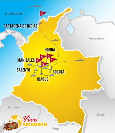 Kolumbien Reisen | Karte Rundreise Kaffeedreieck Mietwagen 2017
