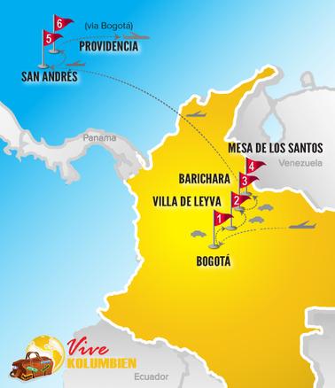 Kolumbien Reisen | Karte Kolonialerbe & Karibikinseln
