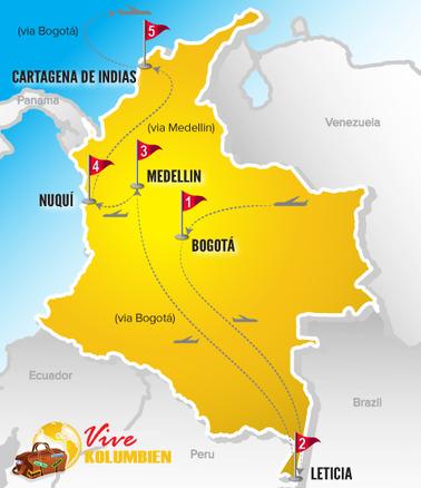 Kolumbien Reisen | Karte Rundreise Ursprüngliche Natur 2017