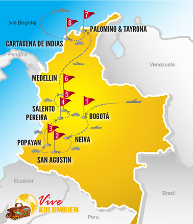 Kolumbien Reisen | Karte Rundreise Sternstunden 2017