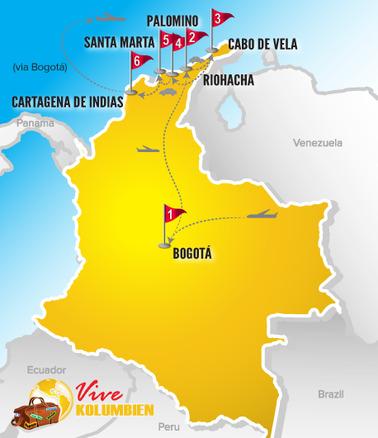 Kolumbien Reisen | Karte Rundreise Karibikabenteuer