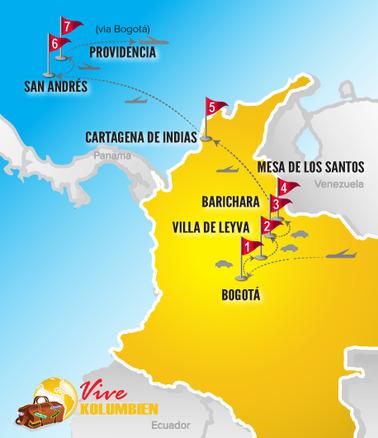 Kolumbien Reisen | Karte Rundreise Koloniales Erbe & Karibikinseln 2019