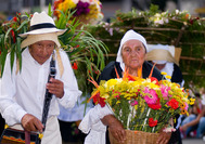 Altes Ehepaar mit Blumenschmuck in Medellin
