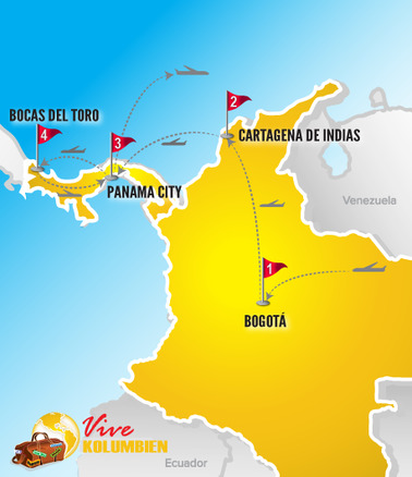 Kolumbien Reisen | Karte Rundreise Kolumbien - Panama