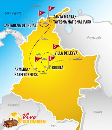 Kolumbien Reisen   Karte Rundreise Highlights